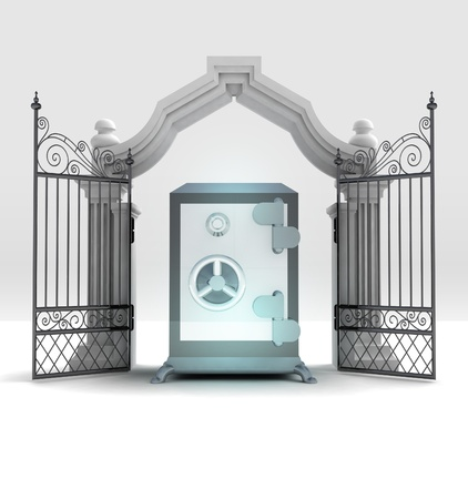place of worship: divine vault wealth in heavenly gate illustration