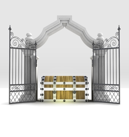 god box: divine treasure secret in heavenly gate illustration Stock Photo