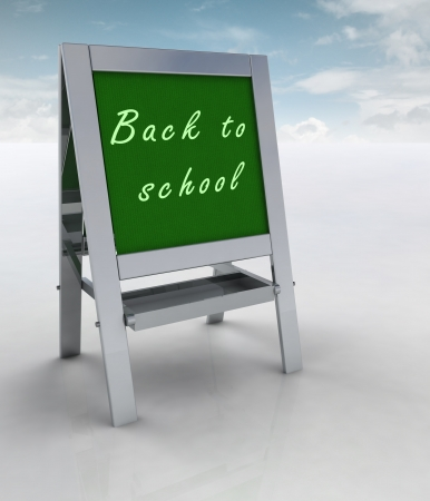 welcoming: welcoming school metallic rack left view with sky illustration Stock Photo