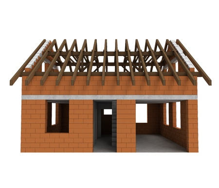 rafter: isolated bricked house front facade with garage illustration