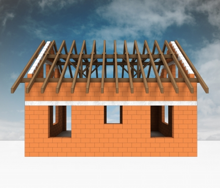 land development: bricked house construction with sky illustration