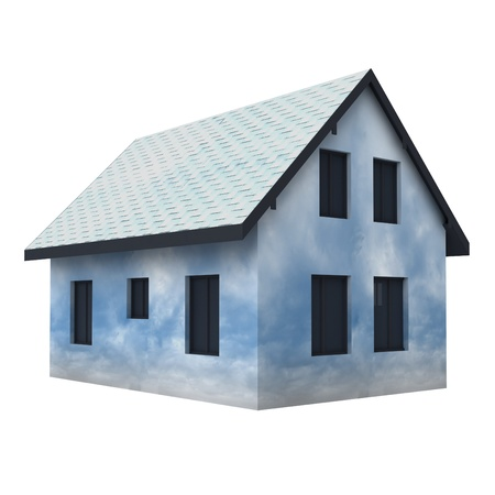 rafter: isolated cloudy house facade imagination illustration Stock Photo