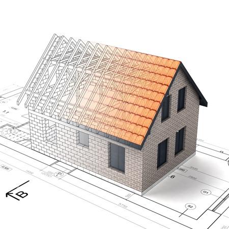 construction house: construction house plan design blend transition illustration
