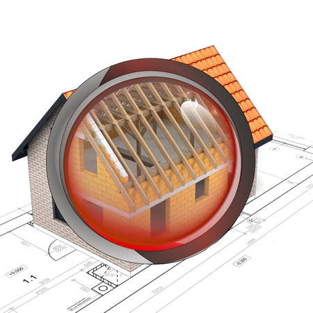 rentgen: red rentgen glass shows house construction detail illustration Stock Photo