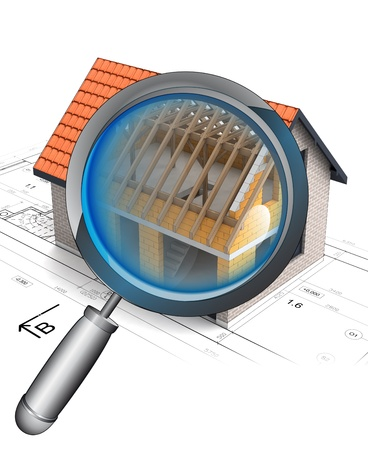 rentgen: magnifying glass roof construction detail illustration