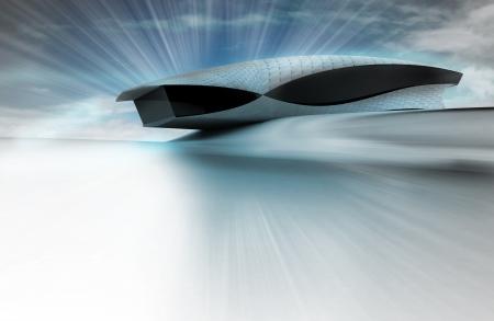 edifice: futuristic steel glass building design with flare illustration