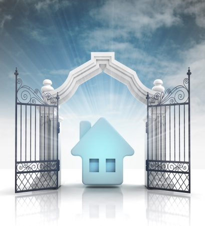 baroque gate: open baroque gate with blue house and sky illustration Stock Photo