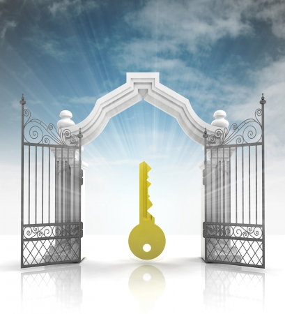 baroque gate: open baroque gate with golden key and sky illustration Stock Photo
