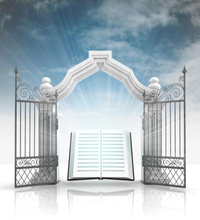 神聖な聖書と空のイラストがバロック様式のゲートを開く