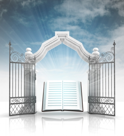 open baroque gate with holy bible and sky illustration