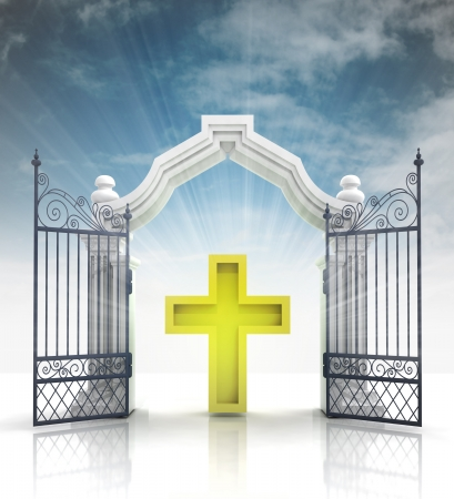 godness: open baroque gate with golden cross and sky illustration Stock Photo