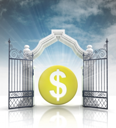 baroque gate: open baroque gate with dollar coin and sky illustration Stock Photo