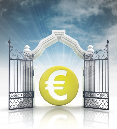 baroque gate: open baroque gate with euro coin and sky illustration