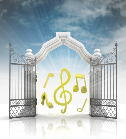 baroque gate: open baroque gate with music sounds and sky illustration