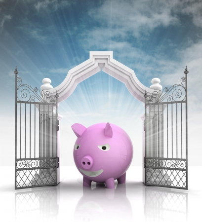 baroque gate: open baroque gate with pig and sky illustration