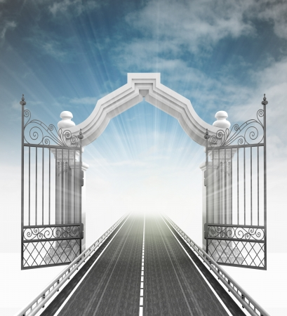 tracks live: open baroque gate with highway and sky illustration