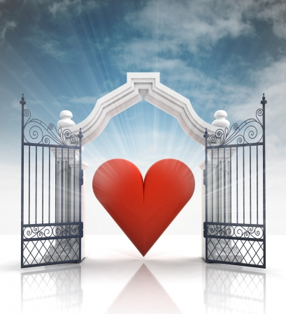 baroque gate: open baroque gate with heart and sky illustration Stock Photo