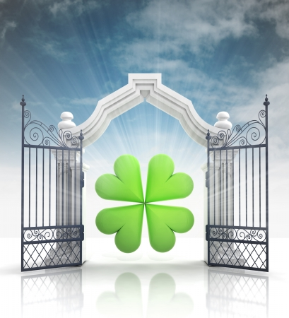 baroque gate: open baroque gate with cloverleaf and sky illustration