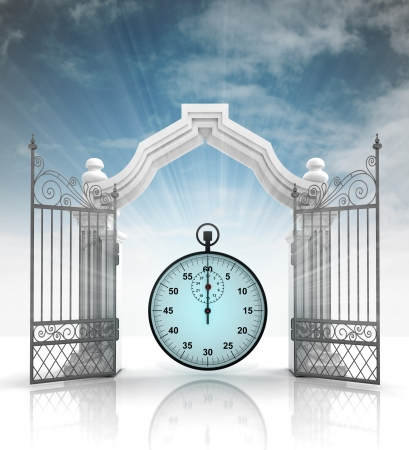 baroque gate: open baroque gate with stopwatch and sky illustration