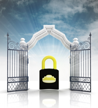 baroque gate: open baroque gate with padlock and sky illustration Stock Photo