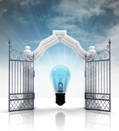 baroque gate: open baroque gate with bulb light and sky illustration Stock Photo