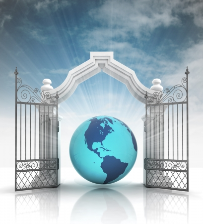 baroque gate: open baroque gate with asia on globe with sky illustration
