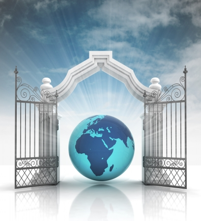 baroque gate: open baroque gate with africa on globe with sky illustration