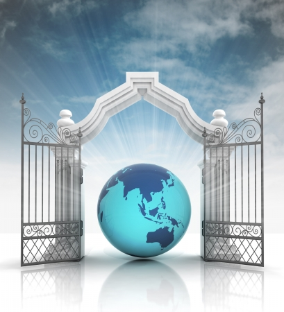 baroque gate: open baroque gate with america on globe with sky illustration Stock Photo