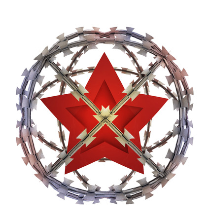 govern: isolated socialistic star in barbed sphere prison illustration