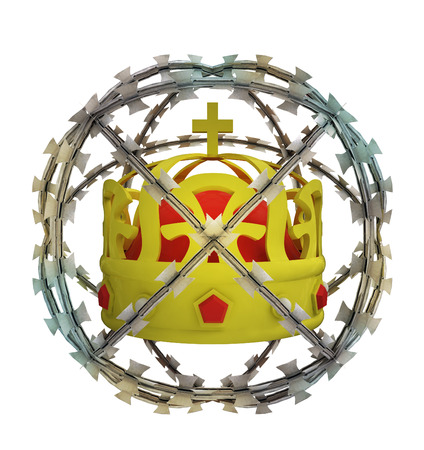 isolated protected crown in barbed sphere fence illustration illustration
