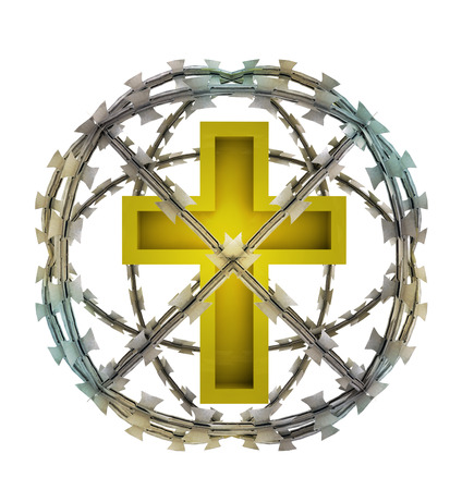 godness: isolated protected cross in barbed sphere fence illustration