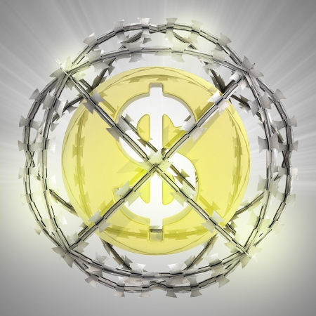 dollar coin in barbed wire sphere with flare illustration illustration