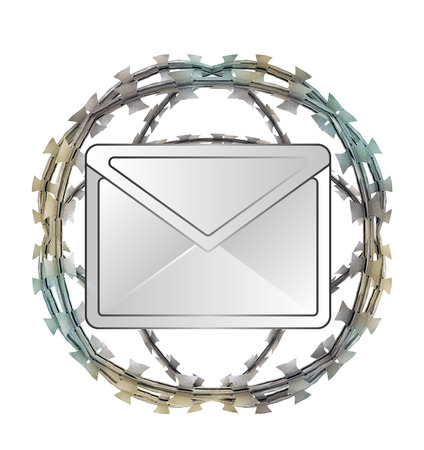 send to prison: isolated protected message in barbed sphere fence illustration