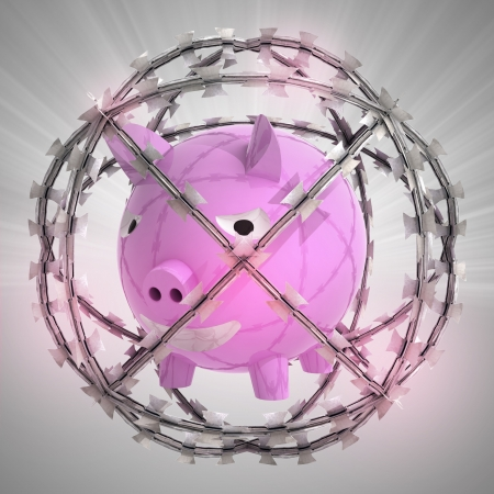 pig iron: pig in barbed wire sphere with flare illustration Stock Photo
