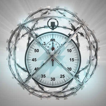 big timer: stopwatch in barbed wire sphere with flare illustration Stock Photo