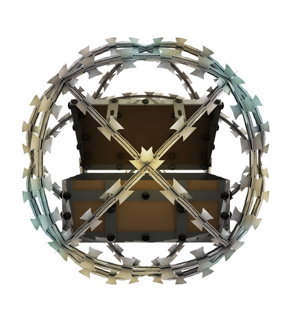 isolated protected treasure in barbed sphere fence illustration illustration