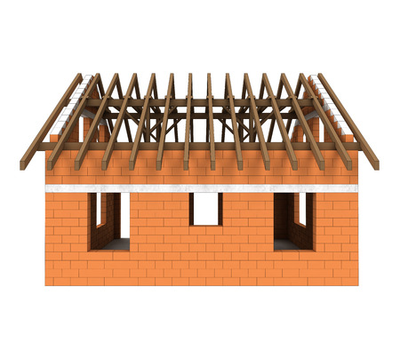 rafter: isolated bricked house facade and roof construction illustration
