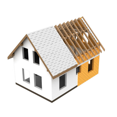 rafter: isolated house structural design section transition illustration Stock Photo