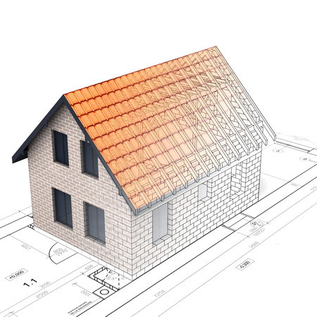 rafter: construction of brick house design blend transition illustration Stock Photo
