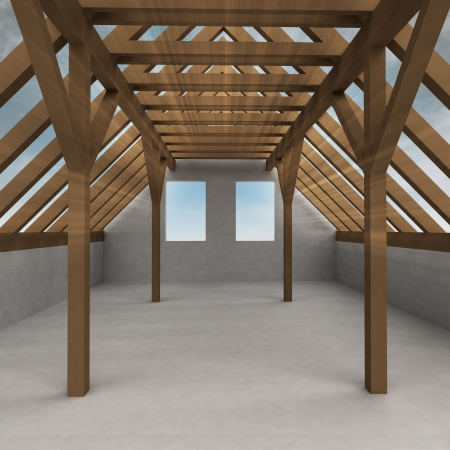attic wooden construction perspective veiw with flare illustration  Stock Illustration - 22258811