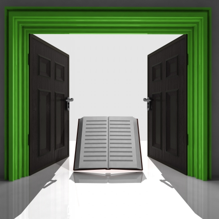 education book in green framed doorway illustration Stock Illustration - 22258814