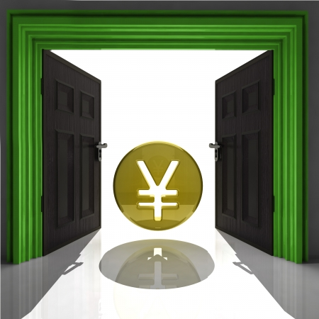 yen or yuan coin in green framed doorway illustration