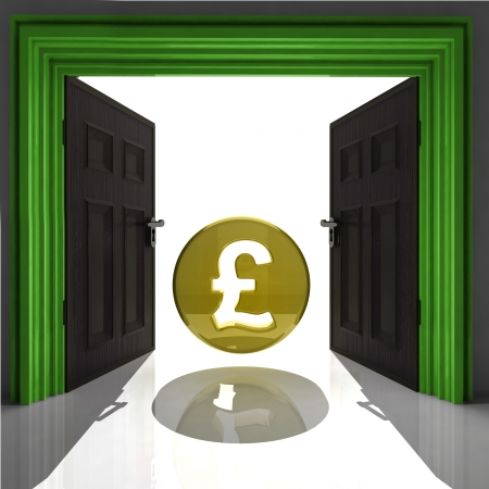expect: pound coin in green framed doorway illustration