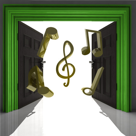 expect: flying music sound through green doorway illustration