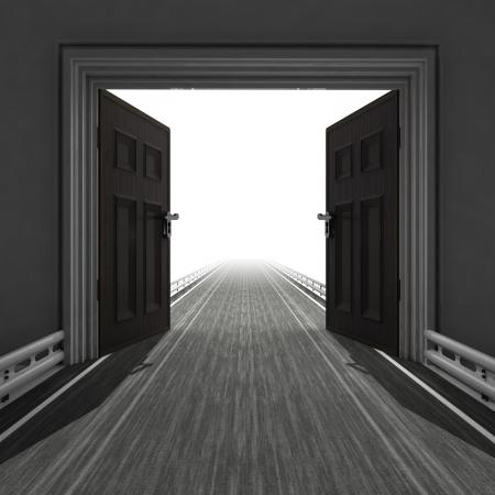 trough: highway leading trough doorway illustration