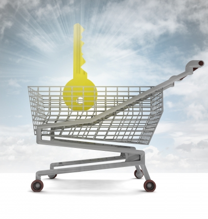 profusion: golden key in shoping cart with sky flare illustration Stock Photo