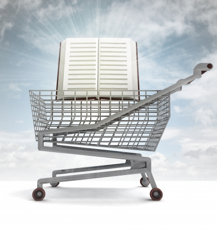 profusion: education book in shoping cart with sky flare illustration