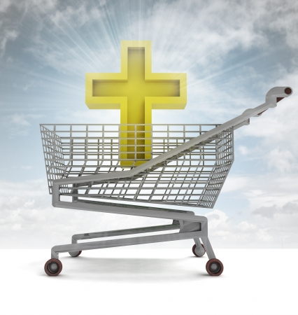 godness: golden holy cross in shoping cart with sky flare illustration