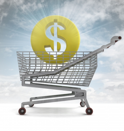 profusion: american dollar coin in shoping cart with sky flare illustration Stock Photo