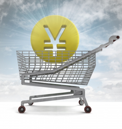 profusion: yuan or yen coin in shoping cart with sky flare illustration Stock Photo